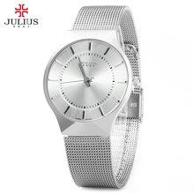 Fashion Wach Top Luxury Brand JULIUS Watches Men Stainless Steel Strap Quartz Watch Ultra Thin Dial Clock Man Relogio Masculino - Rosegal store