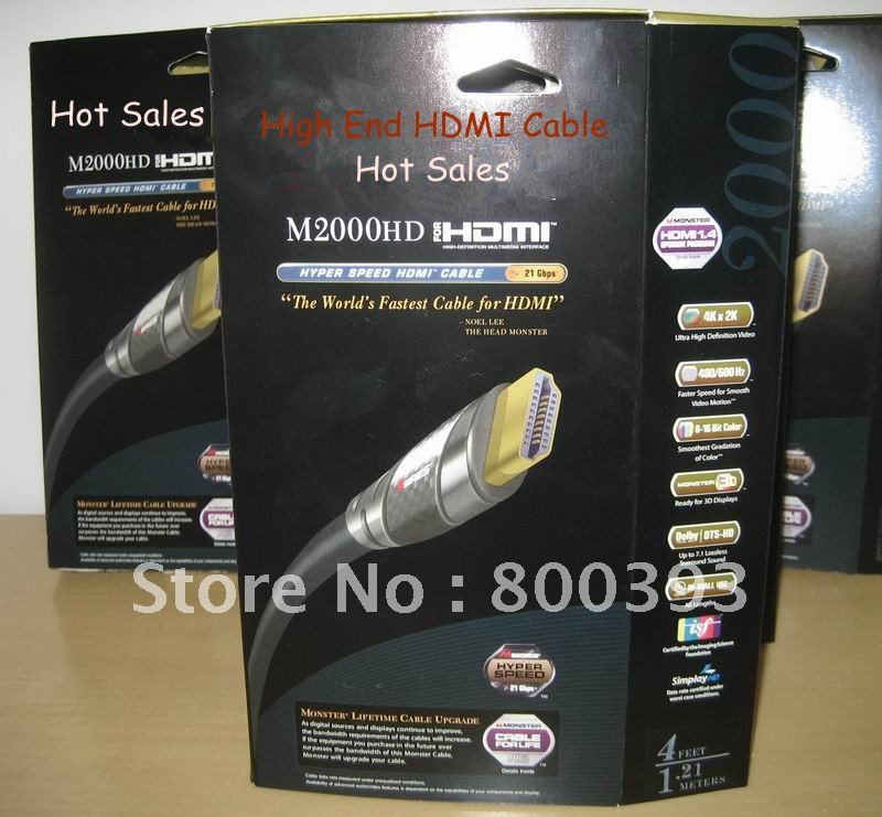 Latest Package M2000 HDMI cable 2.43m/8 Feet with retial box hyper speed for 3D,1.4Version video audio cables!(China (Mainland))