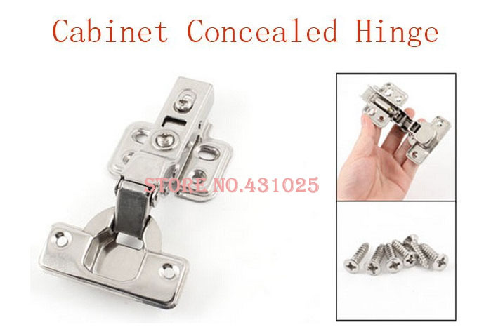 Best Promotion Wholesale Price 8mm x 4.7mm Instal Hole Silver Tone Metal Cupboard Cabinet Concealed Hinge 10 Pcs/lot(China (Mainland))
