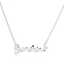 Korean Love Real Platinium Plated Tiny CZ Diamond Letter Sunshine Pendant Charm Link Chain Necklace for Women Fashion Jewelry(China (Mainland))