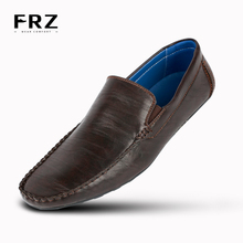 FRZ Brand NEW Fashion Men Flats Shoes Hand Made Action Leather Breathable Slip-on Mocassins Men Loafers Brown Big Size CE86813BU