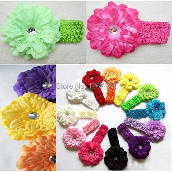 12pcs/set Multi Color Wide Elastic Stretch Crochet Headband With Flower Toddler Infant Headbands Baby Hair Jewelry Headwear 3vma(China (Mainland))