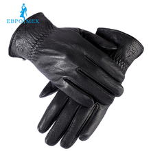 Sell well gloves male ,Genuine Leather, winter gloves,mens black gloves,Warm lined,fashion Leather men's winter gloves(China (Mainland))