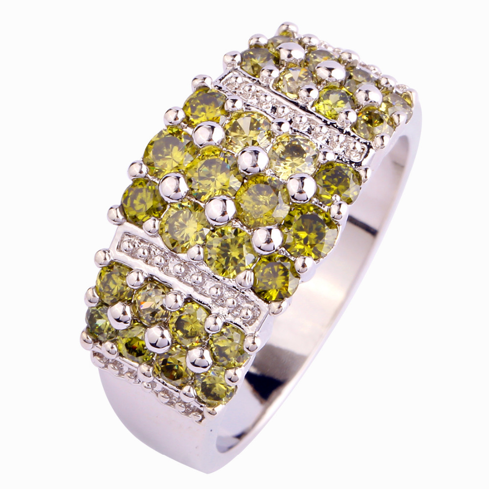 Buy Lingmei Fashion Luxurious Style Rings New Olive Green Peridot Silver Ring