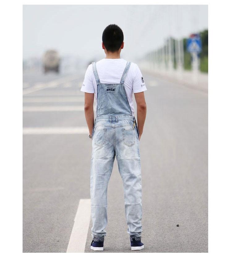 Мужская свободного покроя комбинезоны тонкие джинсовые комбинезоны Большой размер свободной старинные синий белые джинсы