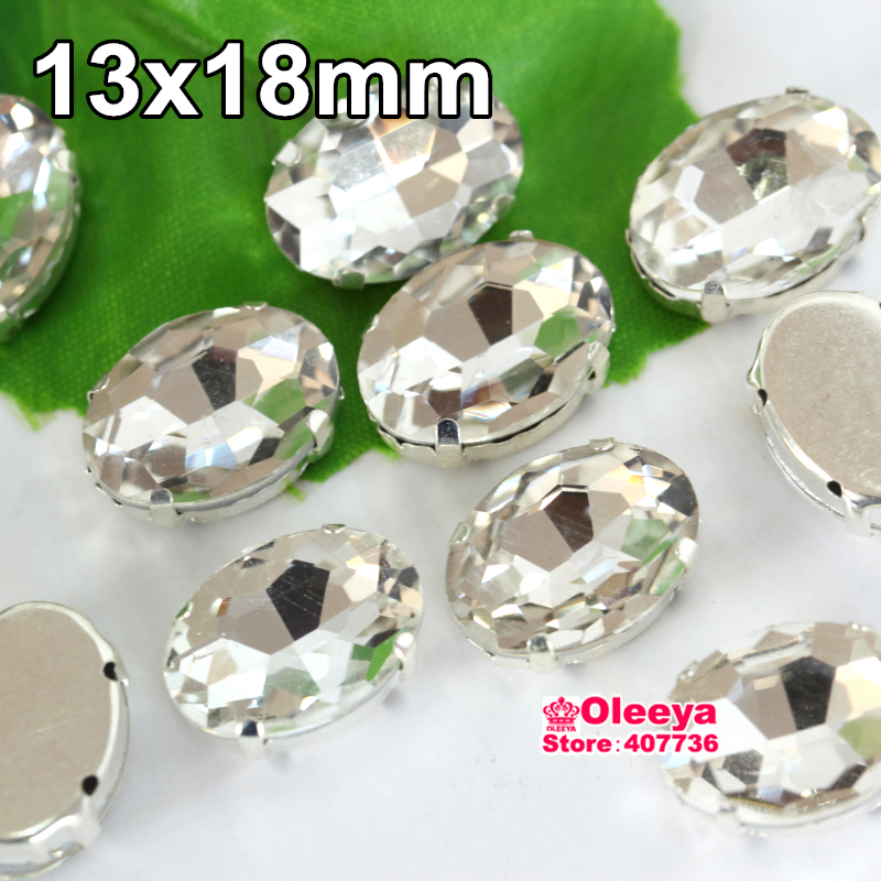 36pcs/lot 13x18mm Oval Crystal Sew On Claw Rhinestone Clear White Fancy Stone Sewing Beads For Garments Y1974(China (Mainland))