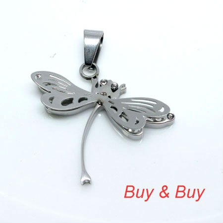 Free shipping stainless steel Dragonfly pendant with free necklace. 316L stainless steel material IBP-045SS,All silver color(China (Mainland))