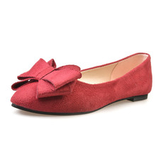 2016 Street Fashion Solid Bowtie Suede Boat Shoes Slip On Flat Red Shoes Women Pointed Toe Non-slip Rubber Base Sapato Feminino