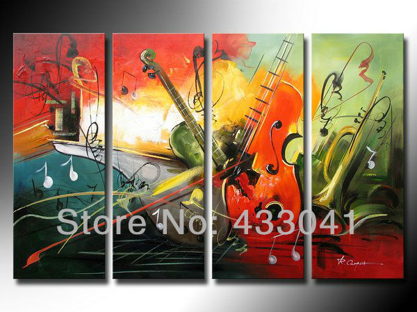 Hand painted music decorations for bedroom large canvas for Cheap canvas paintings for sale