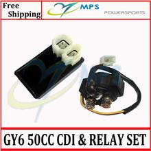 Gy6 50cc 125cc 150cc электрические части переменного тока CDI коробка + начать электромагнитный реле комплект для 4 двухтактный двигатель типа китайский самокаты