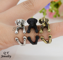 Real Picture Punk Vintage 3D Labrador Retriever Puppy Animal Wrap Ring Anillos Boho Chic Anel Rings For Women Aneis Fine Jewelry(China (Mainland))