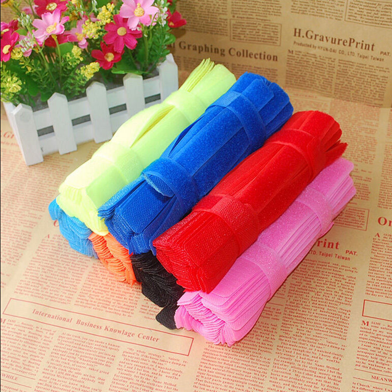 7pcs pack Different Mix Colors Velcro Cord Cable Ties Strap Wire Organiser Holder Tying Rope Free