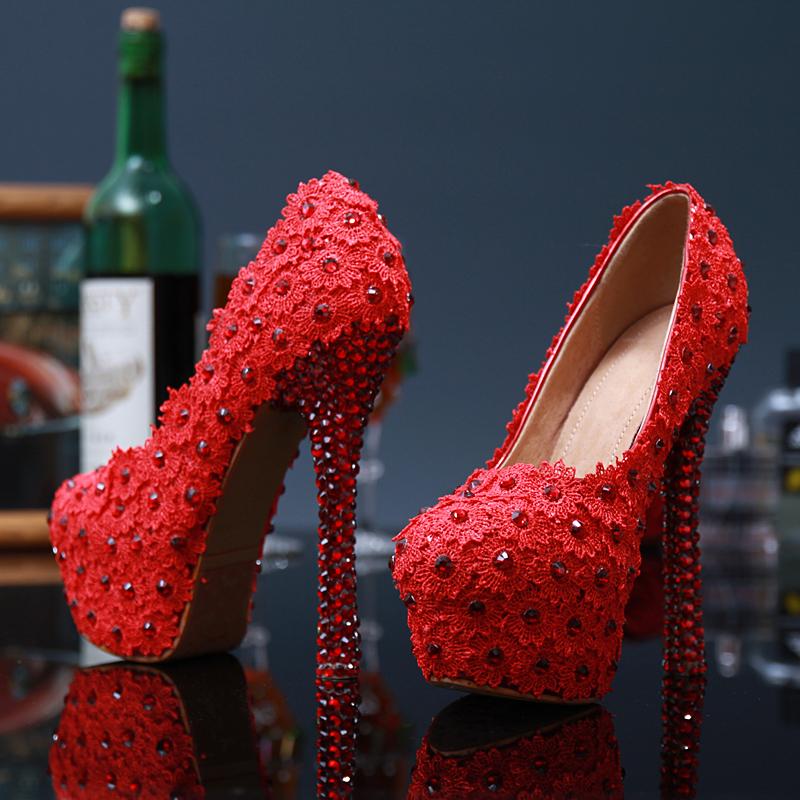 Women high heels sexy pumps 2016 Fashion Style women Red Rhinestone Bud silk flowers platform Wedding shoes for women<br><br>Aliexpress