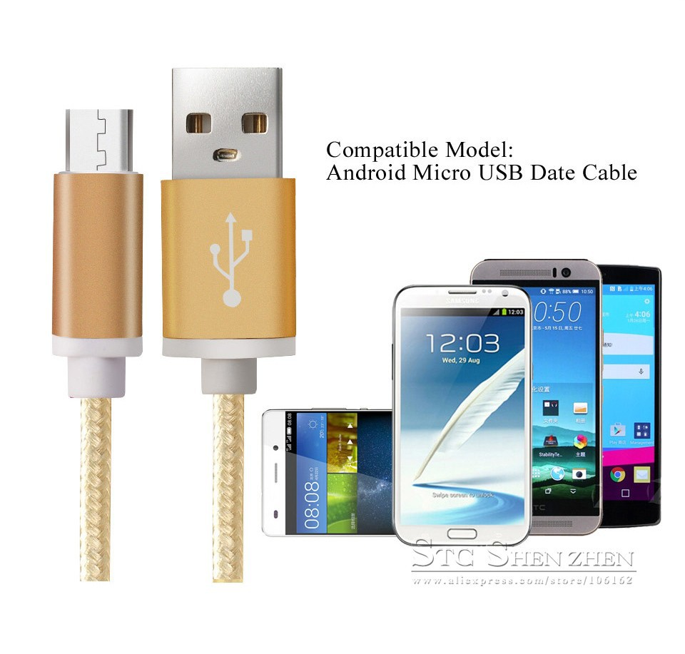 Braided Cellular phone Cables Micro USB Date Cable For Samsung (2)