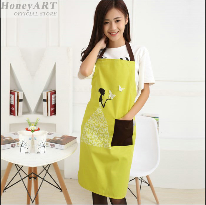 New women fashion candy color apron kitchen fashion ladies aprons for woman elegant new cleaning cooking school aprons FF1173(China (Mainland))
