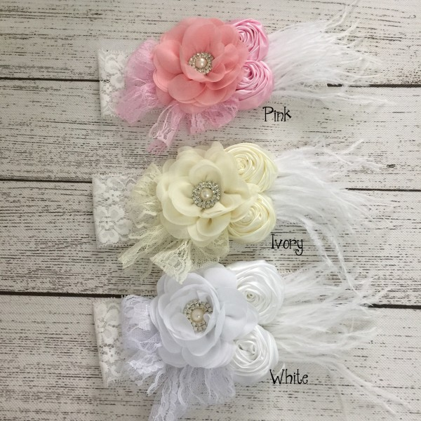 2015 baby girl feather combination flower lace headband toddler baby flower headband with rhinestone hair accessories 15ps/lot от Aliexpress INT