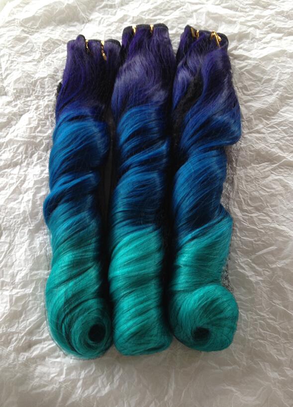 Nueva moda de moda púrpura / azul / luz azul Ombre Balayage 3 Tone ondulado Cosplay