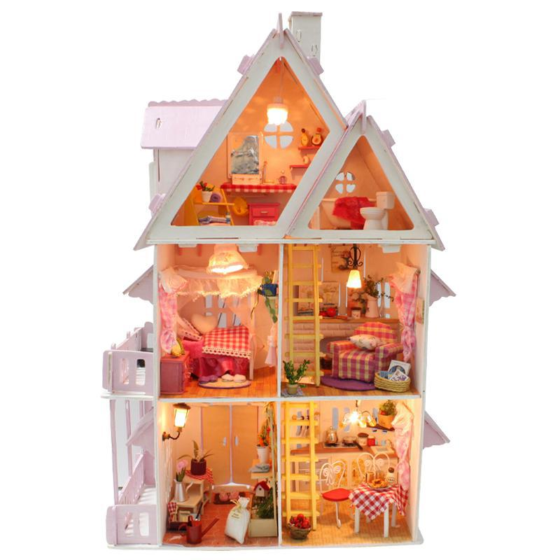 Home Decoration Crafts DIY Doll House Wooden Doll Houses Miniature DIY dollhouse Furniture Kit Villa LED Lights Gift x-001(China (Mainland))