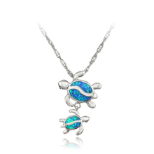 HAIMIS Free Gift Box Free Chains 2017 New Style Blue Fire Opal Women Jewel Silver Plated Opal Pendant For Women 1 1/8'' OP206(China (Mainland))