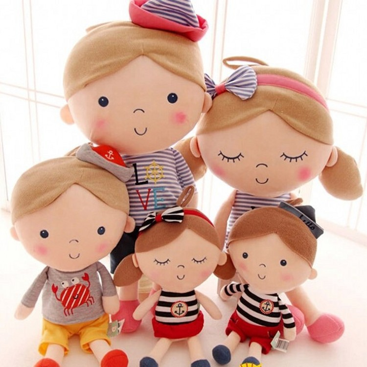 2PCS Lovely seashell son a couple toys navy boys and girls plush doll birthday gift 30cm(China (Mainland))