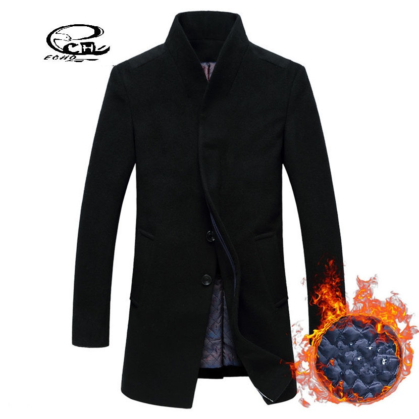 New Men's Wool Coat Jackets Outerwear Winter Fashion Slim Wool Coat Men Thicken Warm Men Wool Pea Coat Abbigliamento Uomo(China (Mainland))