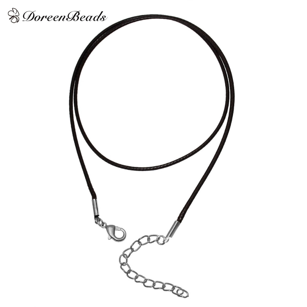 DoreenBeads Wax Rope Chain Necklace Dark Coffee 47cm 18 4 8 long Thickness 1 5mm Women