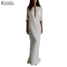Zanzea Fashion Vestidos 2016 Autumn Women Sexy Casual Dress Long Sleeve Deep V Neck Linen Split Solid Long Maxi Dress Plus Size(China (Mainland))
