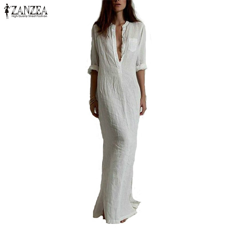 Zanzea Fashion Vestidos 2016 Summer Women Sexy Casual Dress Long Sleeve Deep V Neck Linen Split Solid Long Maxi Dress Plus Size(China (Mainland))
