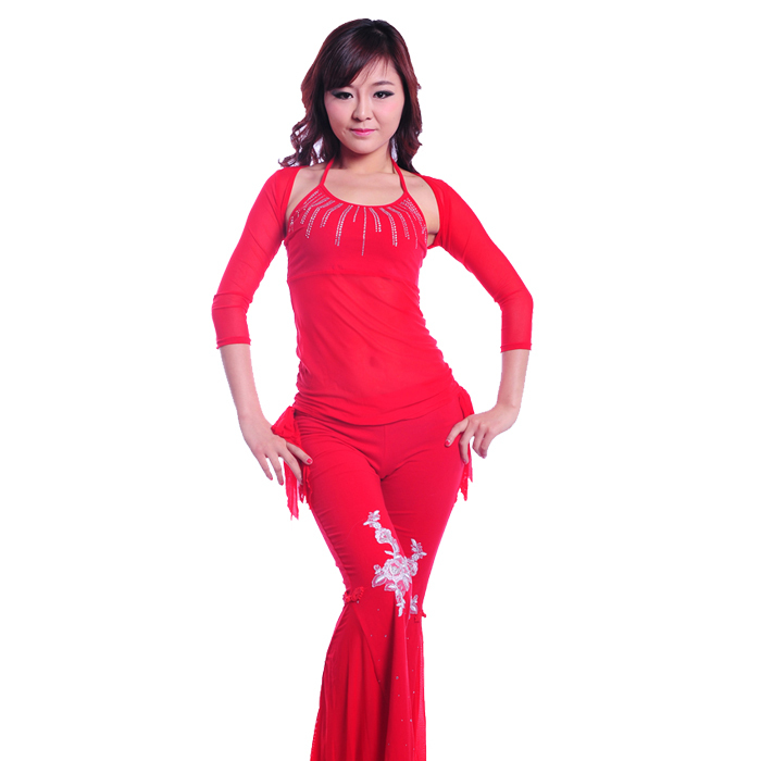 2015 New 3pcs/Set Women Gauze Belly Dance Costume Flower Pattern Sexy Practice Costume Suit Top/Trousers Chinese Kont(China (Mainland))