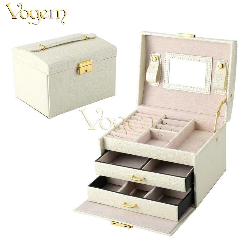 VOGEM 2017 French Luxury Jewelry Storage Display Box Top Quality Crocodile Pattern Jewellery Container Boxes Makeup Case(China (Mainland))