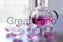 1 glass teapot 600ml+6 double wall tea cups+1 teapot warmer 8pcs/set free shipping