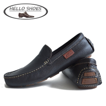 2015 High Quality Slip On Genuine Leather Men Flats, Leather Men Shoes, Big Size Fashion Mocassin, Men Loafers(China (Mainland))