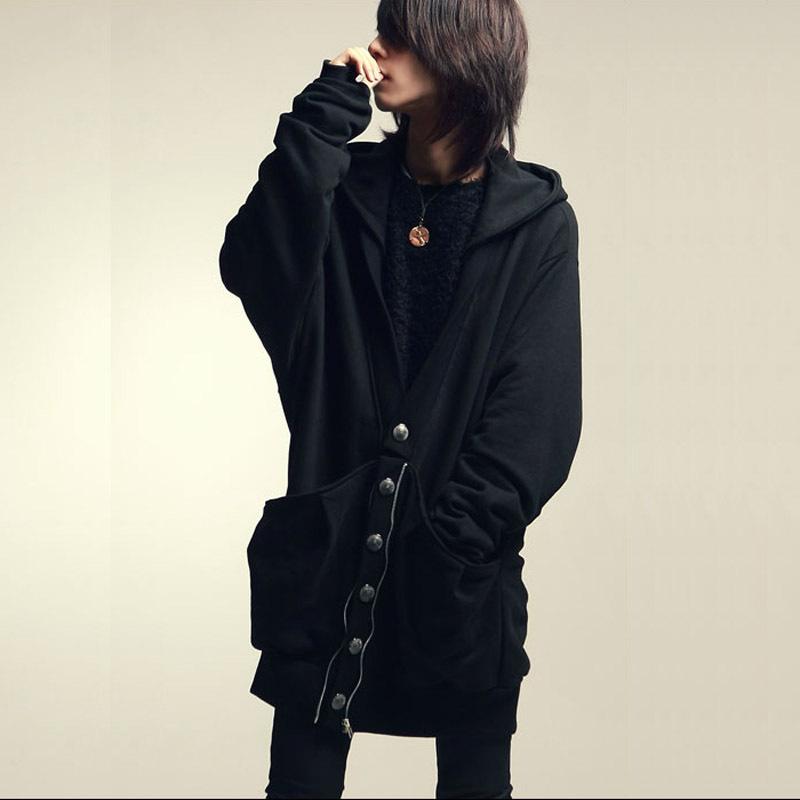 2014 Spring Autumn Men clothing Loose Hoodies Hip Hop Black Long Designer Batwing Shirt Sweatshirt Outerwear Jacket Coat Men,(China (Mainland))