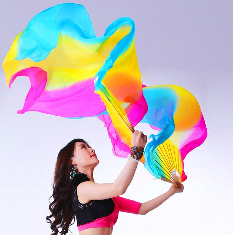 2016 Hot Selling Colorful Hand Made Women Belly Dancing Fans Tools Good Quality Simulation Silk Bamboo Long Veils Fans for Women(China (Mainland))