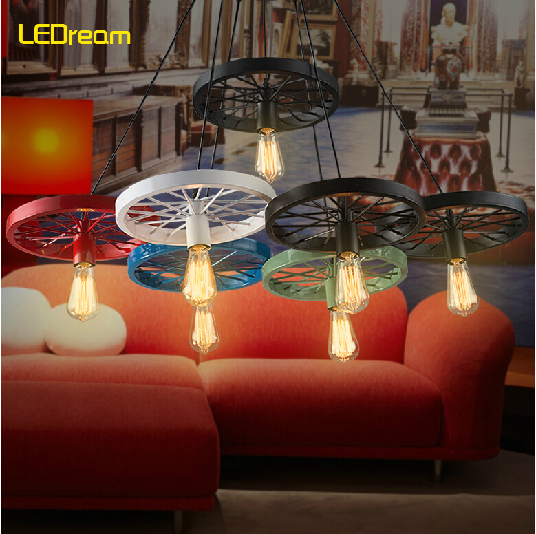 Loft creative personality retro industrial chandeliers restaurant bar American country lamp, wrought iron wheel(China (Mainland))