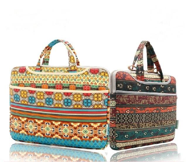 2 color 2014 new hot 13 inch 14 15 Laptop Bag Case Cover bohemia style notebook case laptop handbag tablet handle bag - Fashion Bags Supermarket store