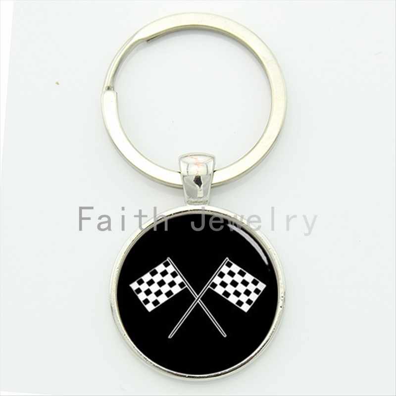 2016 newest arrival fashion sporty racing font b chequered b font flag key chain retro black