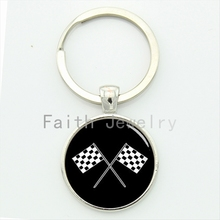 2016 newest arrival fashion sporty racing chequered flag key chain retro black white checkered flags pattern keychain KC492