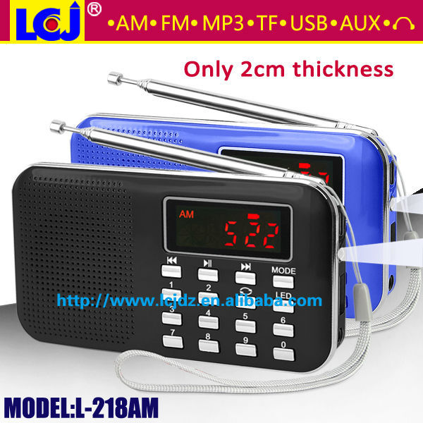 L-218AM Portable usb micro sd card reader mini speaker with digital auto scanner fm am radio mp3 player(China (Mainland))