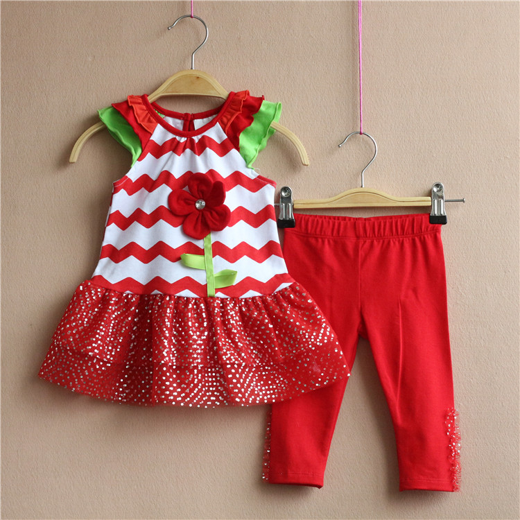 Free Shipping 6 Sets/lot NEW 6M-3T Rare editions Girl Red Waved Flower Dress and Red Pants Girl Outfit<br><br>Aliexpress