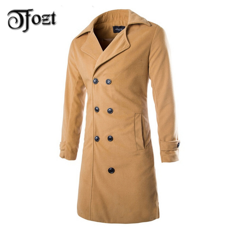 Men's Soild Trench Coat 2015 Winter Fashion Casual Woolen Coat Double Breasted Lapel Long Coat 26045(China (Mainland))