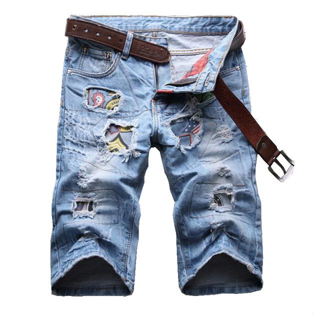 Мужская летняя повседневная патч отверстия рваные джинсы До Колен джинсовые нищий ...