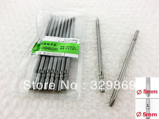 Electronic Screwdriver Part 5mm x 120mm Magnetic Phillips PH2 Cross Bits 10<br><br>Aliexpress