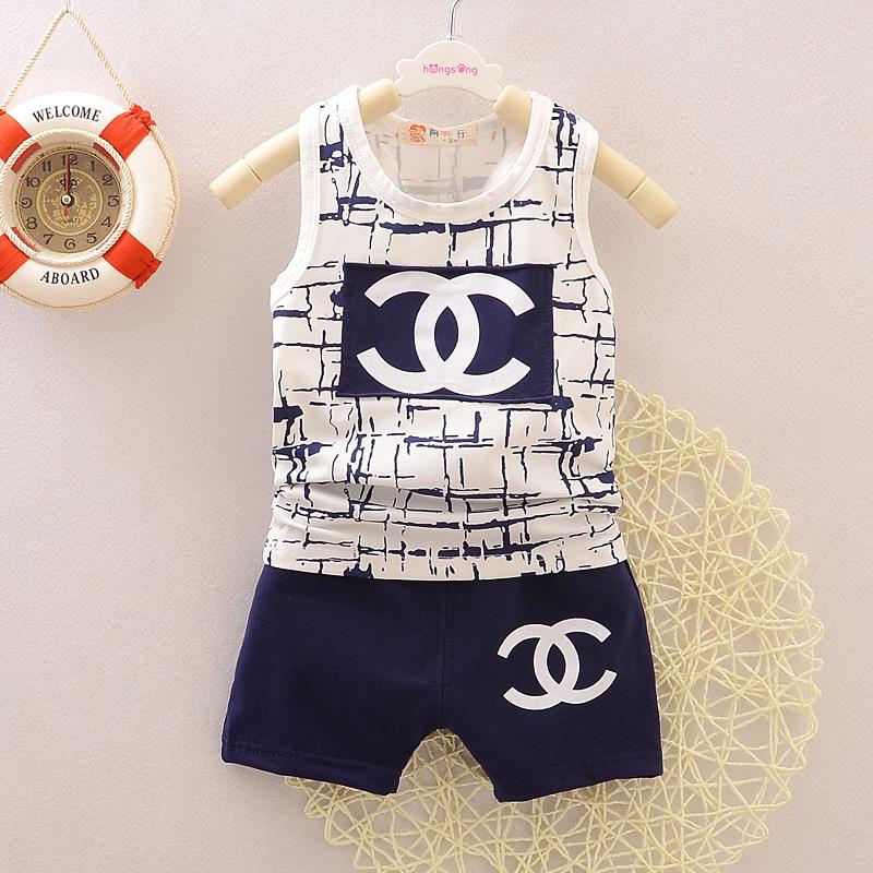 Children Set Korean version Boys girls printing sleeveless t-shirt + shorts suit 2016 new brand summer vest - Rain Yu store