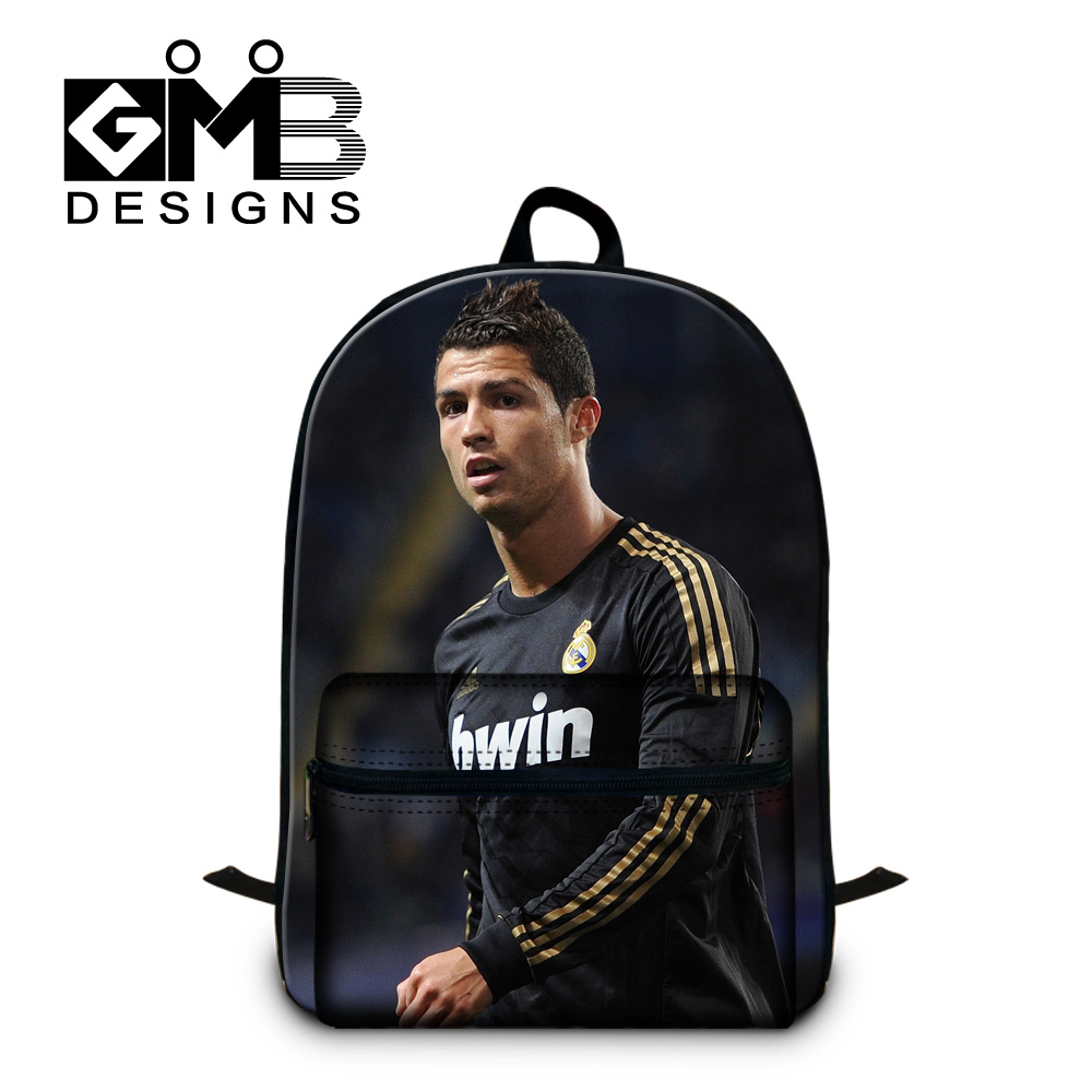 Cristiano Ronaldo 3D printing football star backpack men's travel bagpack outdoor sport mochila christian backpack free shipping(China (Mainland))
