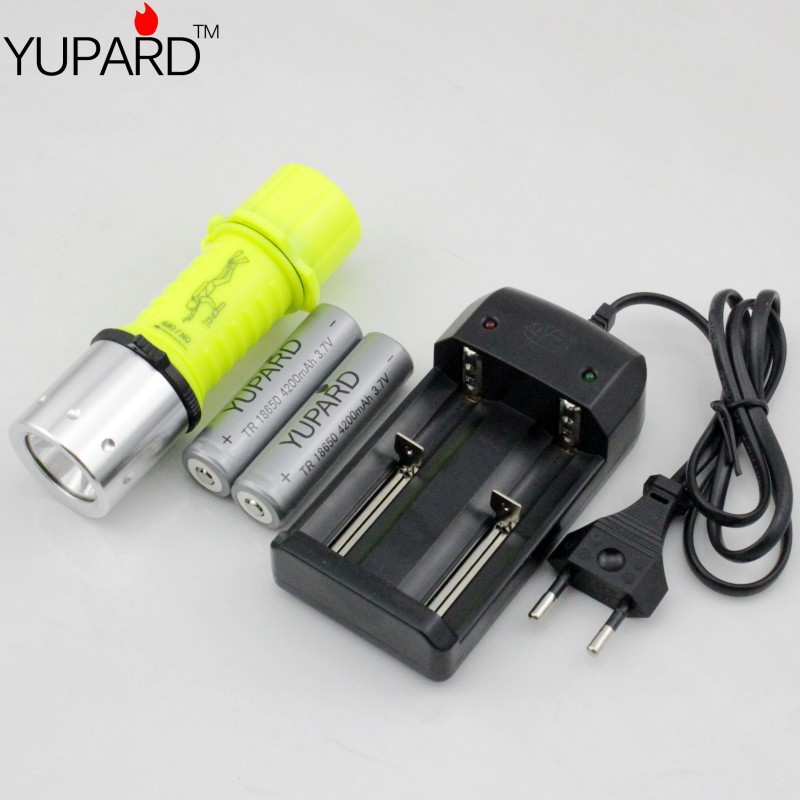 CREE XM-L2 T6 LED Diving Waterproof Underwater Flashlight Lamp 18650/AAA+2*4200mAh 18650 battery+charger