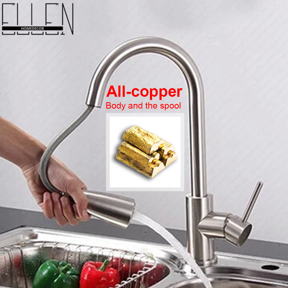 Фотография Pull out kitchen faucet nickel brushed hot and cold kitchen mixer tap rotatable water tap for kitchen