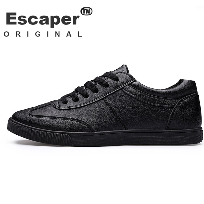 Mens shoes luxury brand casual pu leather white/black solid basic flats skate shoes mens trainers Hombres zapatos sport slip on(China (Mainland))