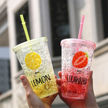 450ml / 650ml Stylish Summer Double Layer Plastic Straw Cup Iced Coffee Lemon Juice Water Bottle Student Outdoor Fruit Drinkware(China (Mainland))