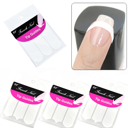 Popular 10packs/lot French Manicure Nail Art Form Fringe Guides Sticker DIY Stencil Decorations(China (Mainland))